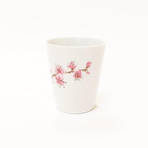 Gobelet en porcelaine, branche de fleur du japon, peint à la main