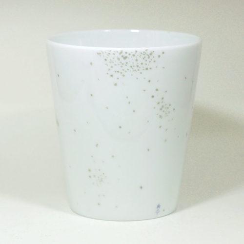 Mug sans anse en Porcelaine de Limoges, Collection Crystal, peint à la main. Plumetis argent