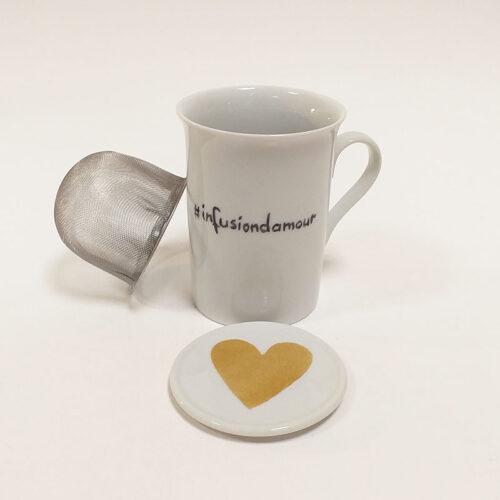 tisanière en porcelaine avec filtre en acier, collection Fais un voeu