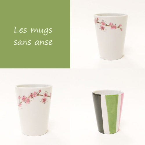 visuel des mugs sans anse en porcelaine. Collection fleur du japon