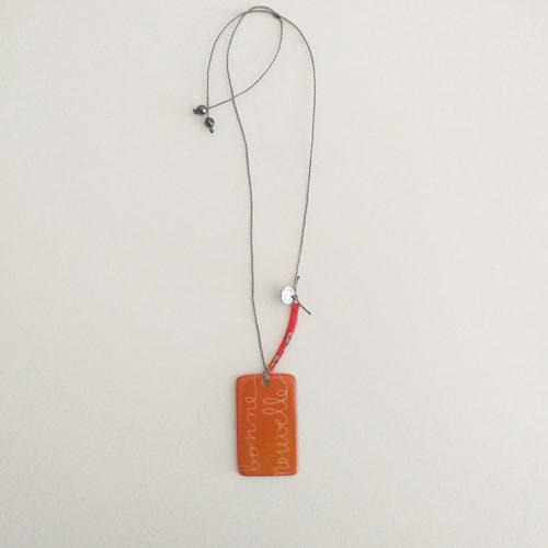 Pendentif rectangulaire orange, en porcelaine peinte à la main, bonne nouvelle