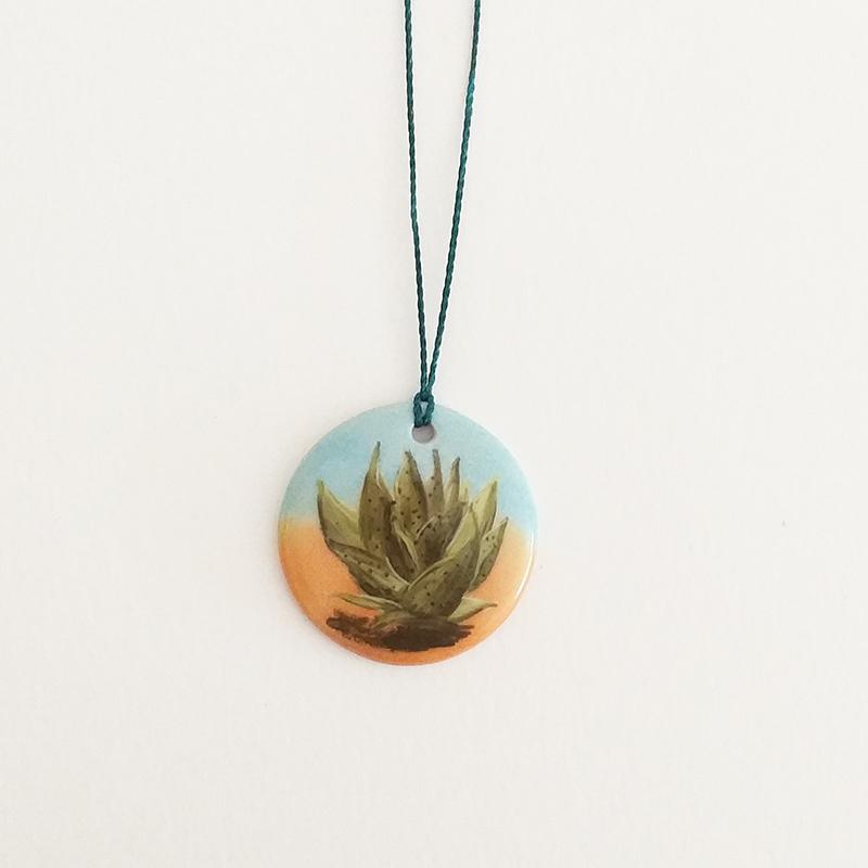 pendentif rond peint à la main collection cactus