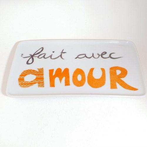 plat rectangulaire en porcelaine, message d'amour peint à la main, les Créations d'Isa