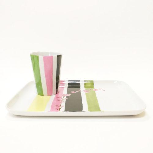 plateau et mug en porcelaine, grand modèle, motif fleur du japon