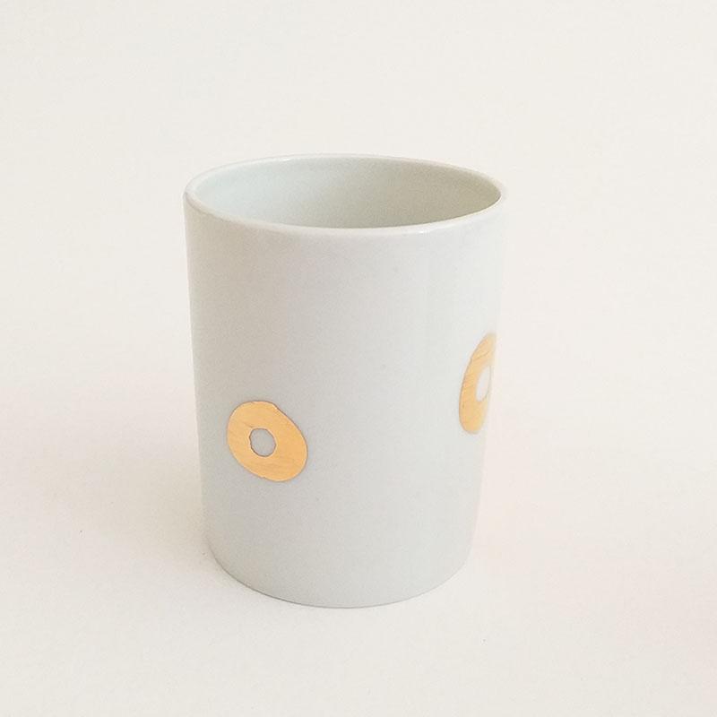 Tasse en porcelaine collection Amore, cercle,peinte à la main, Or