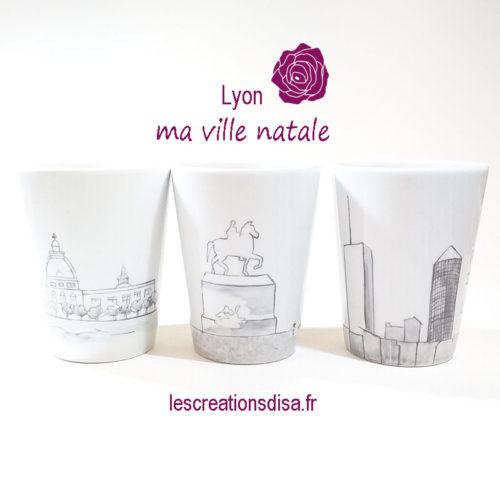 mugs sans anse, collectionLyon, , peint à la main