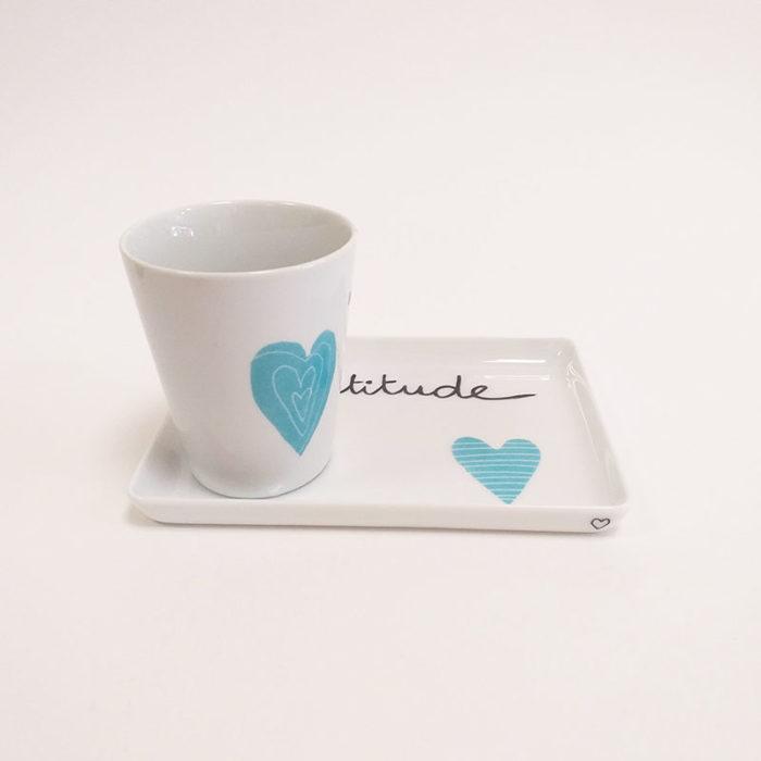 Duo tasse et plat ou plateau en porcelaine de LImoges, collection Pour remercier : bleu turquoise