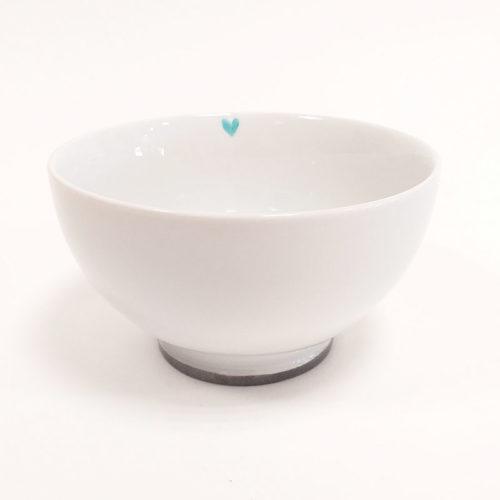 Bol à déjeuner à talon en porcelaine, Papa coeur bleu turquoise