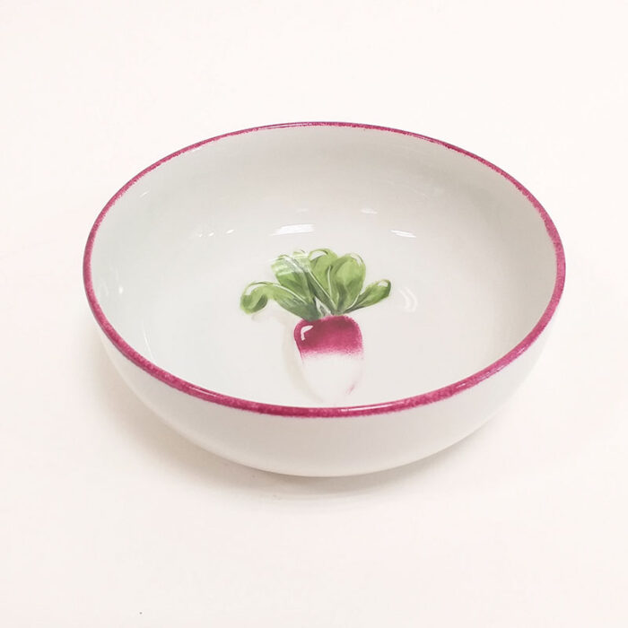 Coupelle en porcelaine, collection potager. Peint à la main. Motif : radis. Version 2
