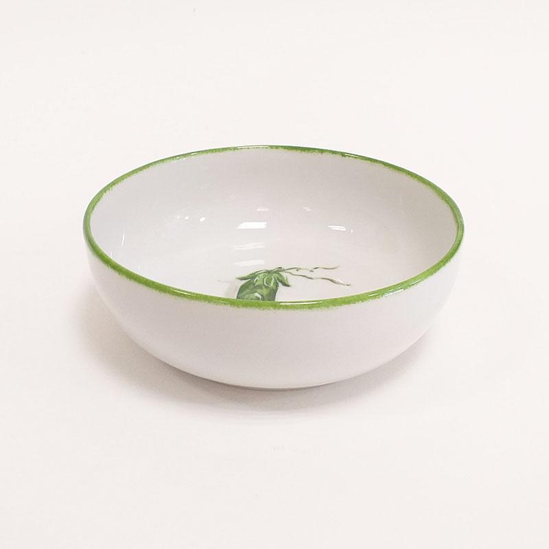 Coupelle en porcelaine, collection potager. Peint à la main. Motif : petit pois-v3