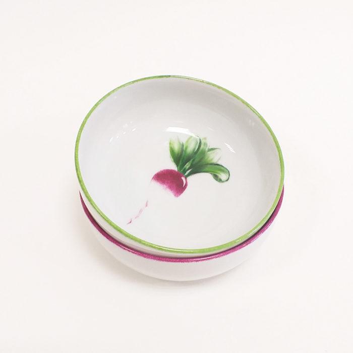 Duo de coupelles en porcelaine, collection potager, motif radis