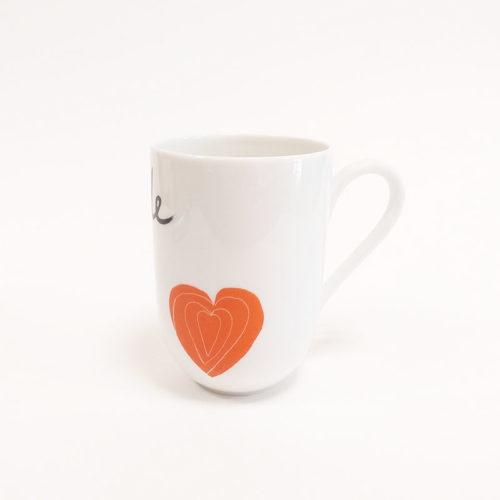 mug en porcelaine de Limoges, coeur mandarine, gratitude collection pour remercier