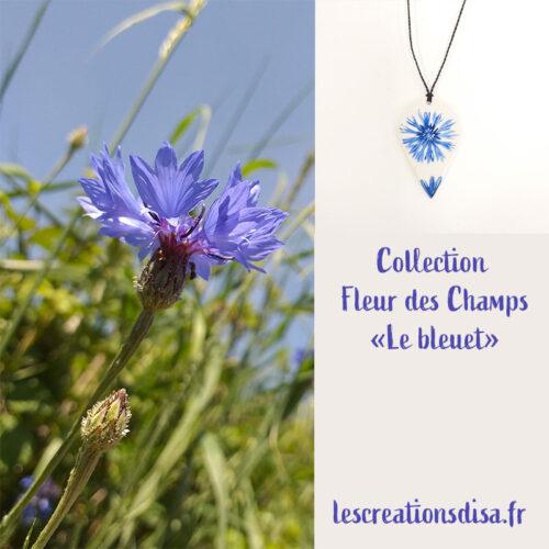 collection Fleur des champs série bleuet, pendentif en porcelaine peint à la main