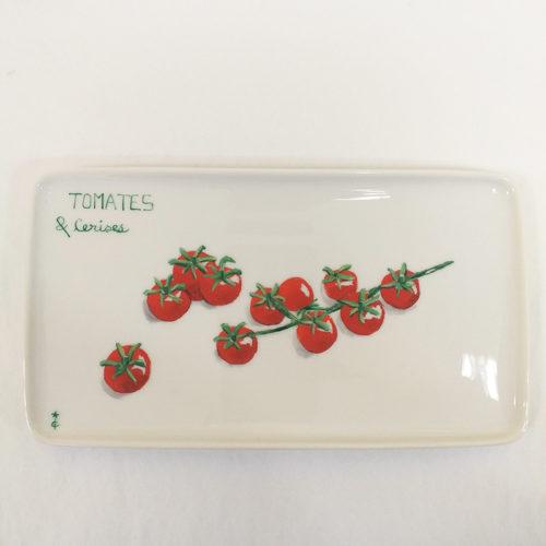 Plat ou plateau en porcelaine peint à la main. Collection Potager : Tomates cerises