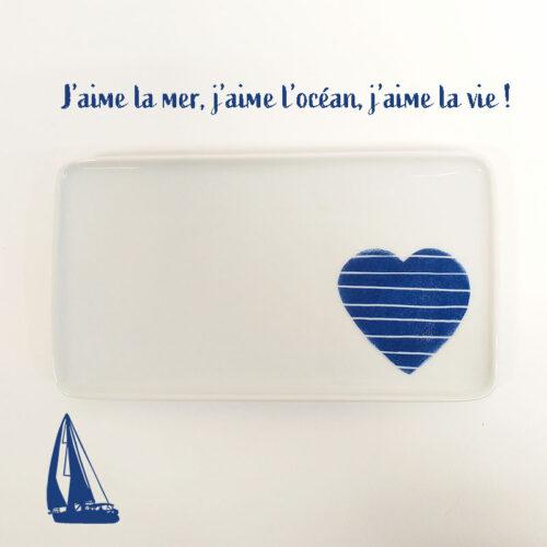 Plat ou plateau en porcelaine collection Pour remercier, coeur marine, peint à la main