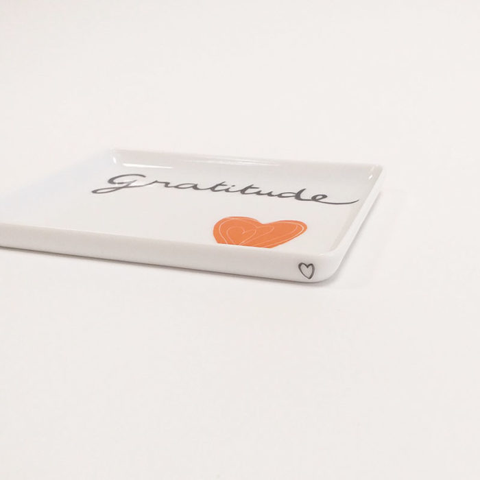 Plat ou plateau en porcelaine de LImoges, collection Pour remercier : mandarine