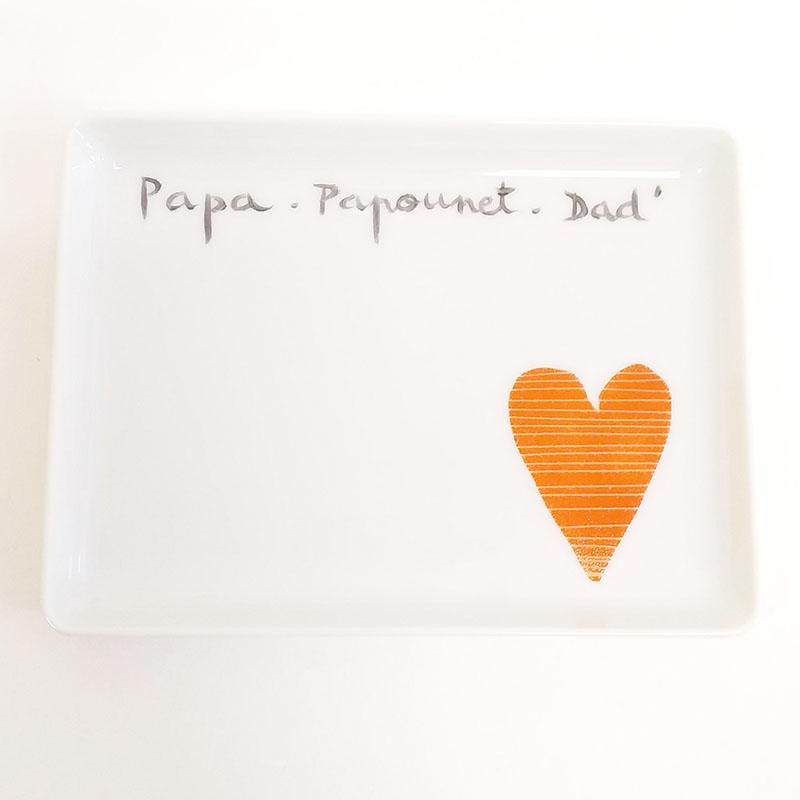 Plat ou plateau collectionPapa, peint à la main. Porcelaine