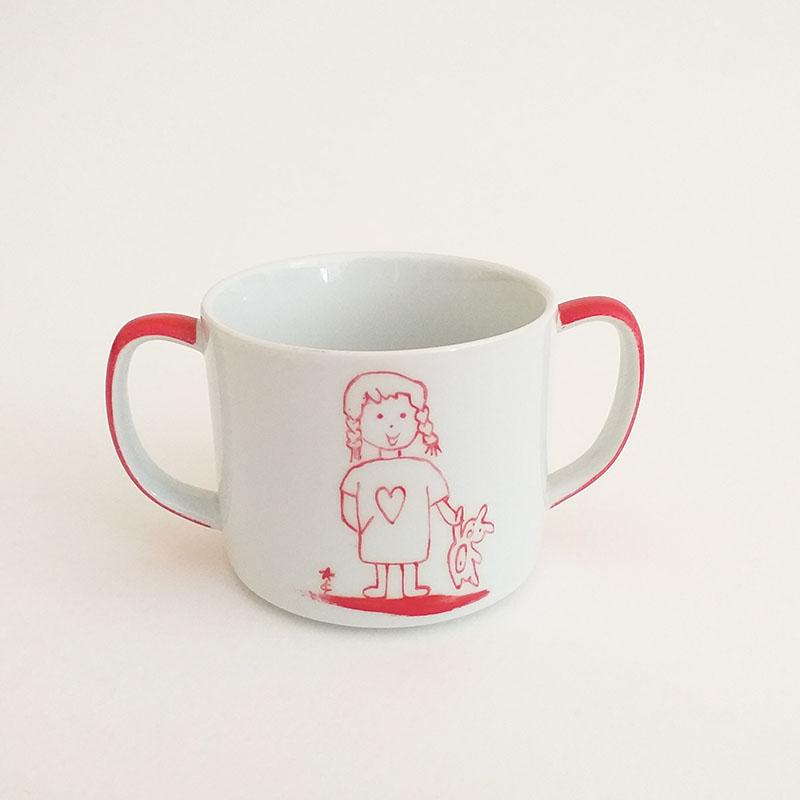 tasse à anse en porcelaine, rouge fille doudou