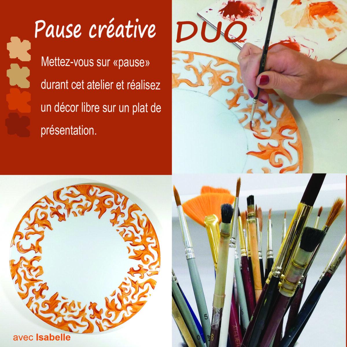 visuel pour l'atelier Pause créative en duo