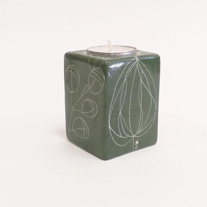 bougeoir carré en porcelaine, collection chlorophylle, peint à la main