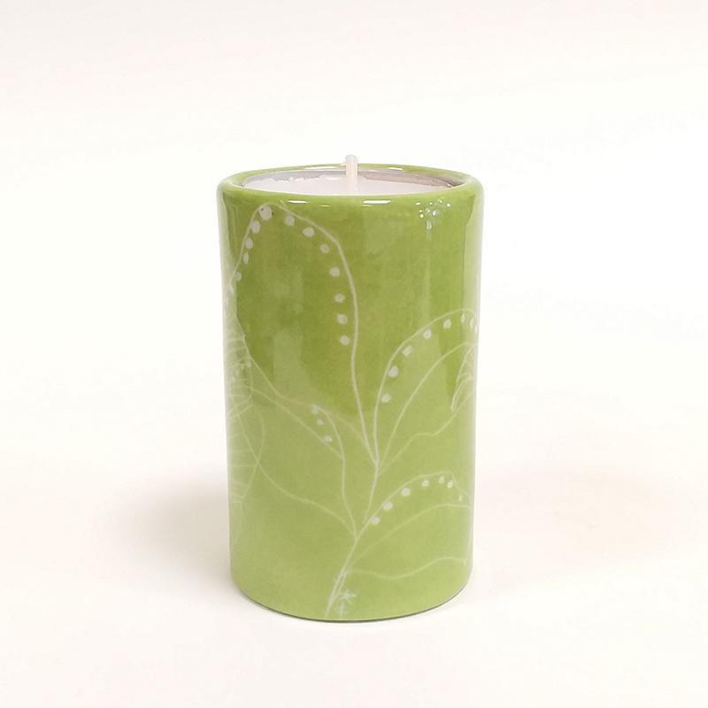 Bougeoir Cylindrique couleur vert de Paris, collection Chlorophylle, peint à la main