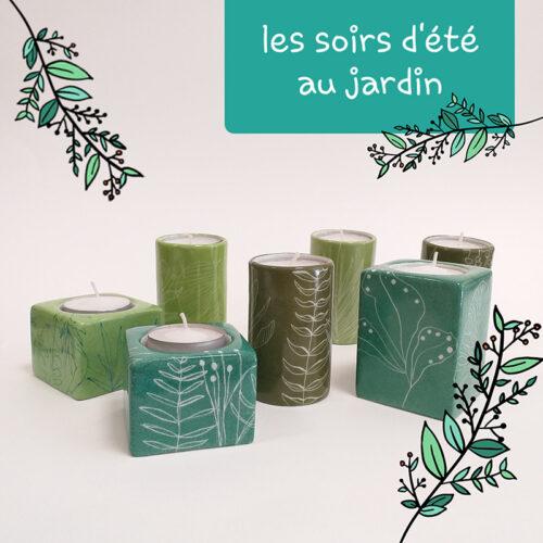 Bougeoirs Carré et Cylindrique couleur vert de Paris, collection Chlorophylle, peint à la main B