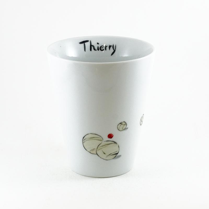 Mug personnalisé, pétanque, peint à la main