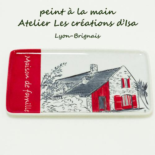 plateau maison de famille bretonne, peinte à la main