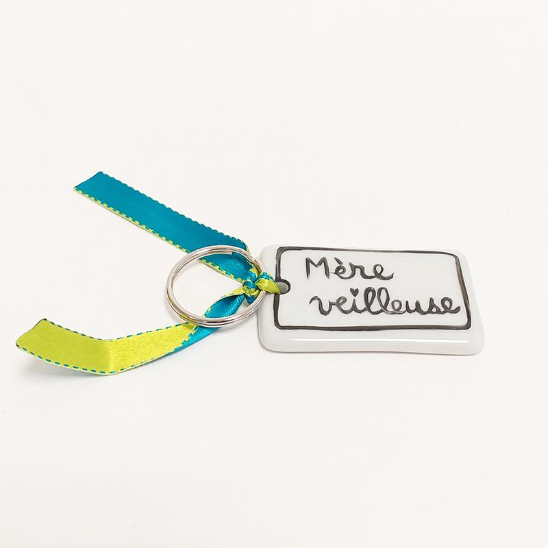 Porte clé en porcelaine personnalisé; Collection j'aime ma vie