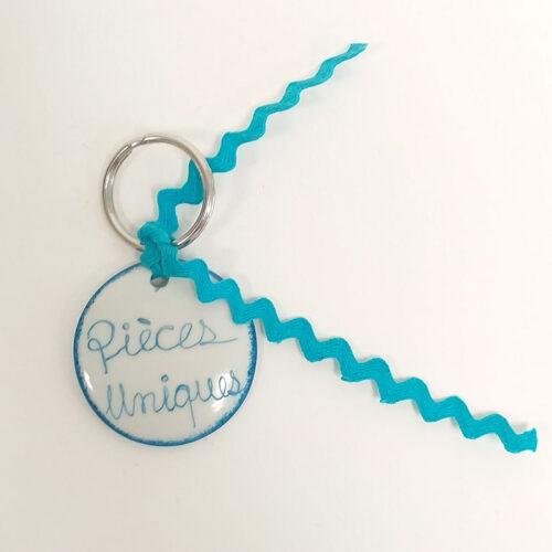 Porte clé rond, pièce unique bleu, peint à la main