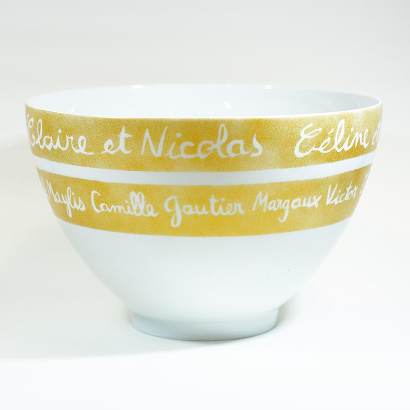 Grand saladier en porcelaine, personnalisé, peint à la main