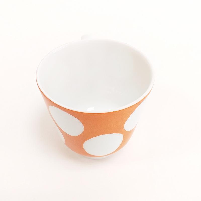 Tasse en porcelaine de Limoges, avec anse, collection Pois, couleur Mandarine
