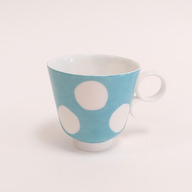 Tasse en porcelaine de Limoges, avec anse, collection Pois, couleur Turquoise