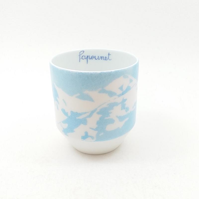 tasse à café en porcelaine, Mont blanc peint à la main