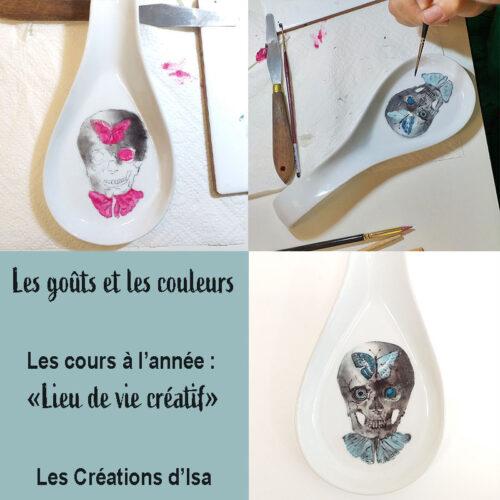 réalisation des objets peints à l'atelier par les élèves : repose couvert
