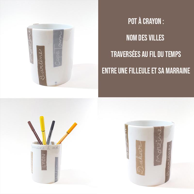 Pot à crayon personnalisé, nom des villes, peint à la main