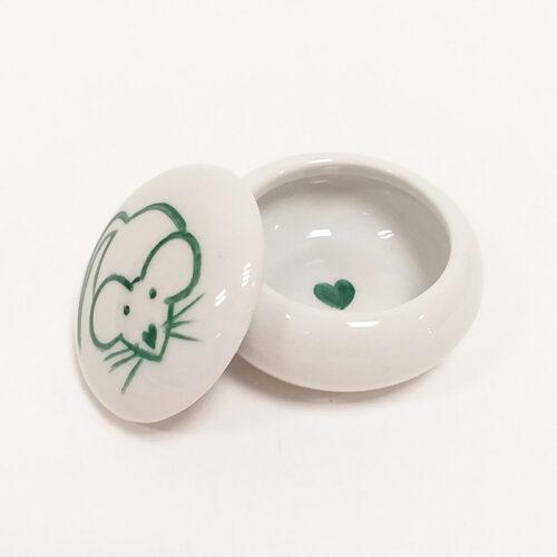 Boîte à dents-souris verte-peinte à la main