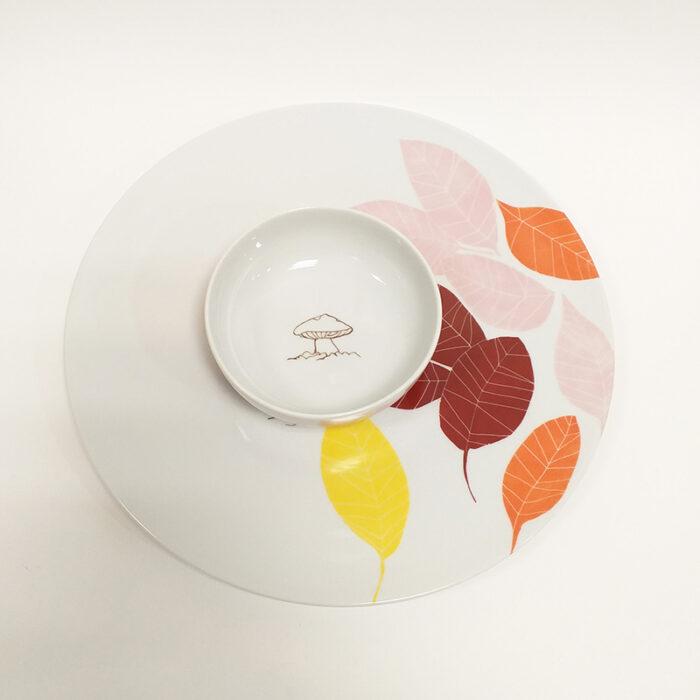 plat à tarte en porcelaine peint à la main. Collection Chlorophylle d'Automne