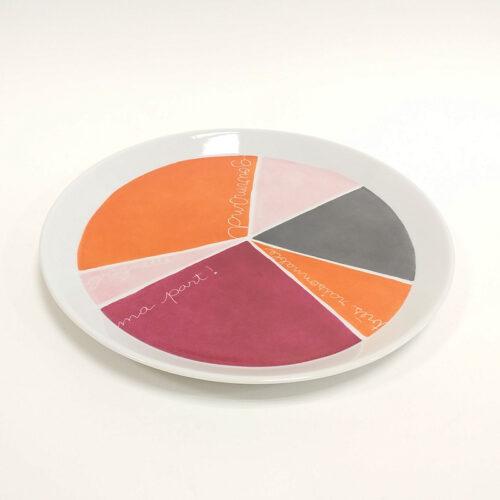 plat à gâteau en porcelaine, collection graphique, part découpée avec message et plusieurs couleurs, peint à la main