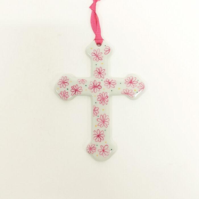 croix à suspendre en porcelaine, format xxl fleurs, peint à la main