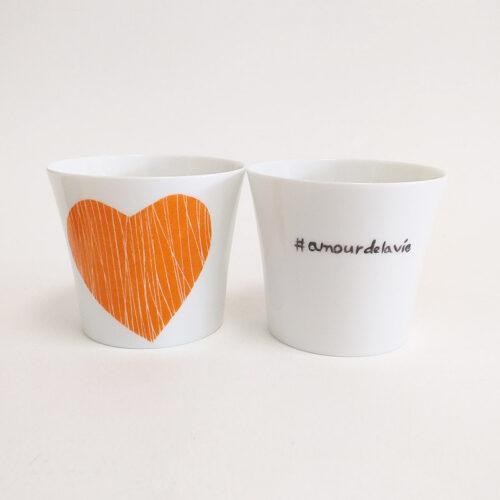"""pots à bougie en porcelaine de Limoges. Collection """" amore"""" Mandarine Rayés"""
