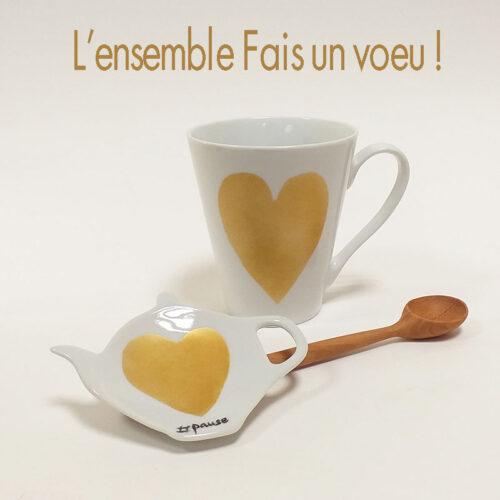 Ensemble Fais un voeu, mug, repose sachet de thé et cuiller en bois. Fabrication artisanale française