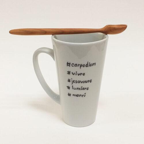 Mug en porcelaine taille Xl Collection Fais un voeu. Coeur doré et message - Peint à la main