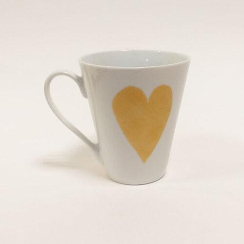 Mug conique 10 collection Fais un voeu, Je savoure, coeur en or. Peint à la main. V2