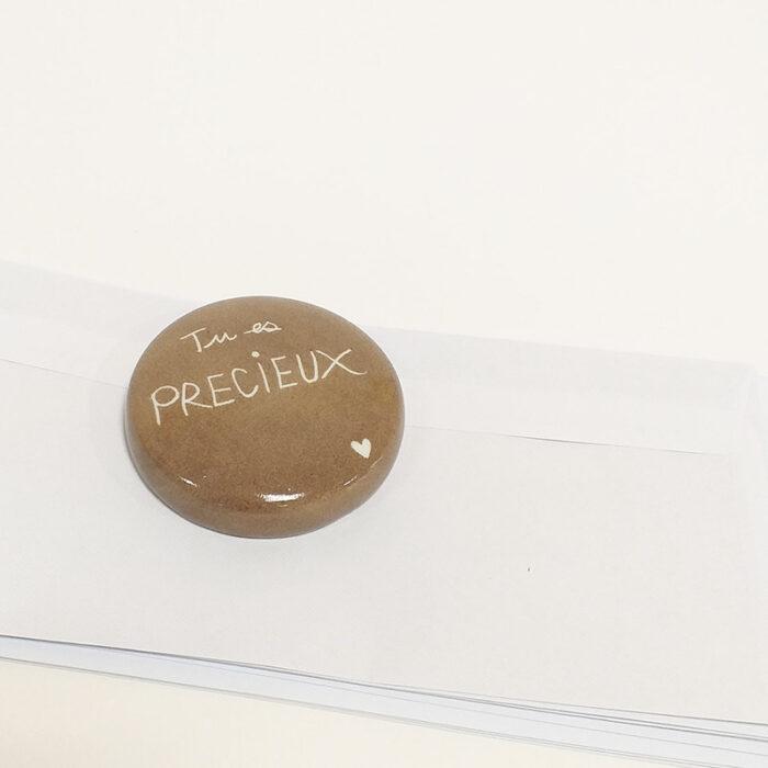 """Presse papier en porcelaine peint à la main. Bolet """" Tu es précieux"""""""