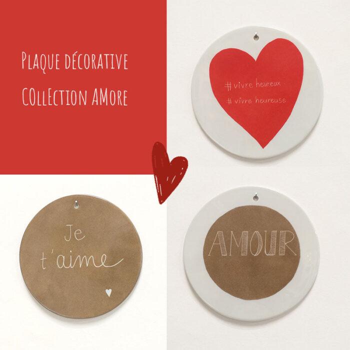 Plaques rondes décoratives en porcelaine. Collection Amore. Peintes à la main