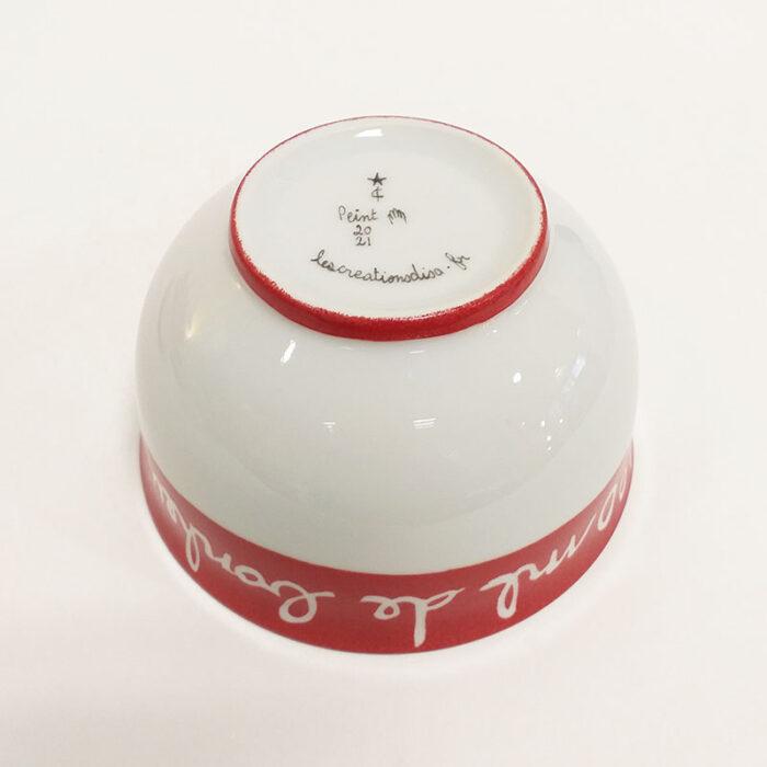 bol ou coupelle à céréales en porcelaine, message sur le bonheur, peint à la main : Rouge cerise