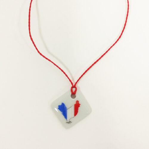 bracelet carré en porcelaine, collection bleu, blanc rouge, peint à la main, collection Supporter