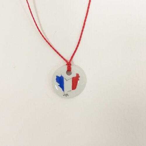 bracelet rond en porcelaine, collection bleu, blanc rouge, peint à la main, collection Supporter