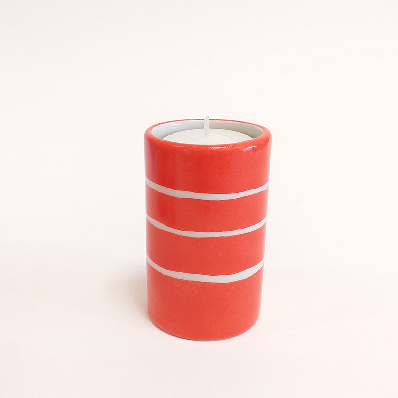 """Bougeoir cylindrique en porcelaine, collection """" Fifty's"""" - Paint à la main .Corail à rayures"""